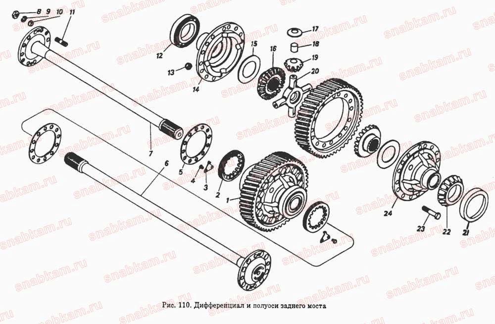 Дифференциал среднего редуктора КАМАЗ 5320 схема